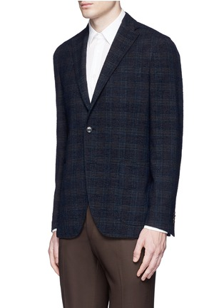 Front View - Click To Enlarge - BOGLIOLI - 'K-Jacket' check bouclé soft blazer