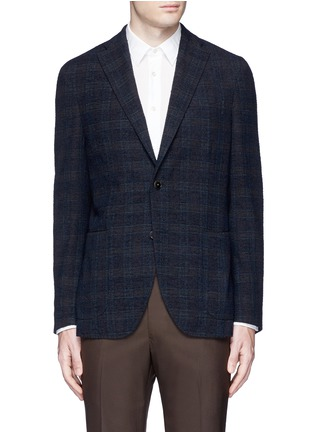 Main View - Click To Enlarge - BOGLIOLI - 'K-Jacket' check bouclé soft blazer