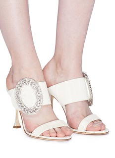 Manolo Blahnik 'Fibiona' Swarovski crystal brooch moire sandals