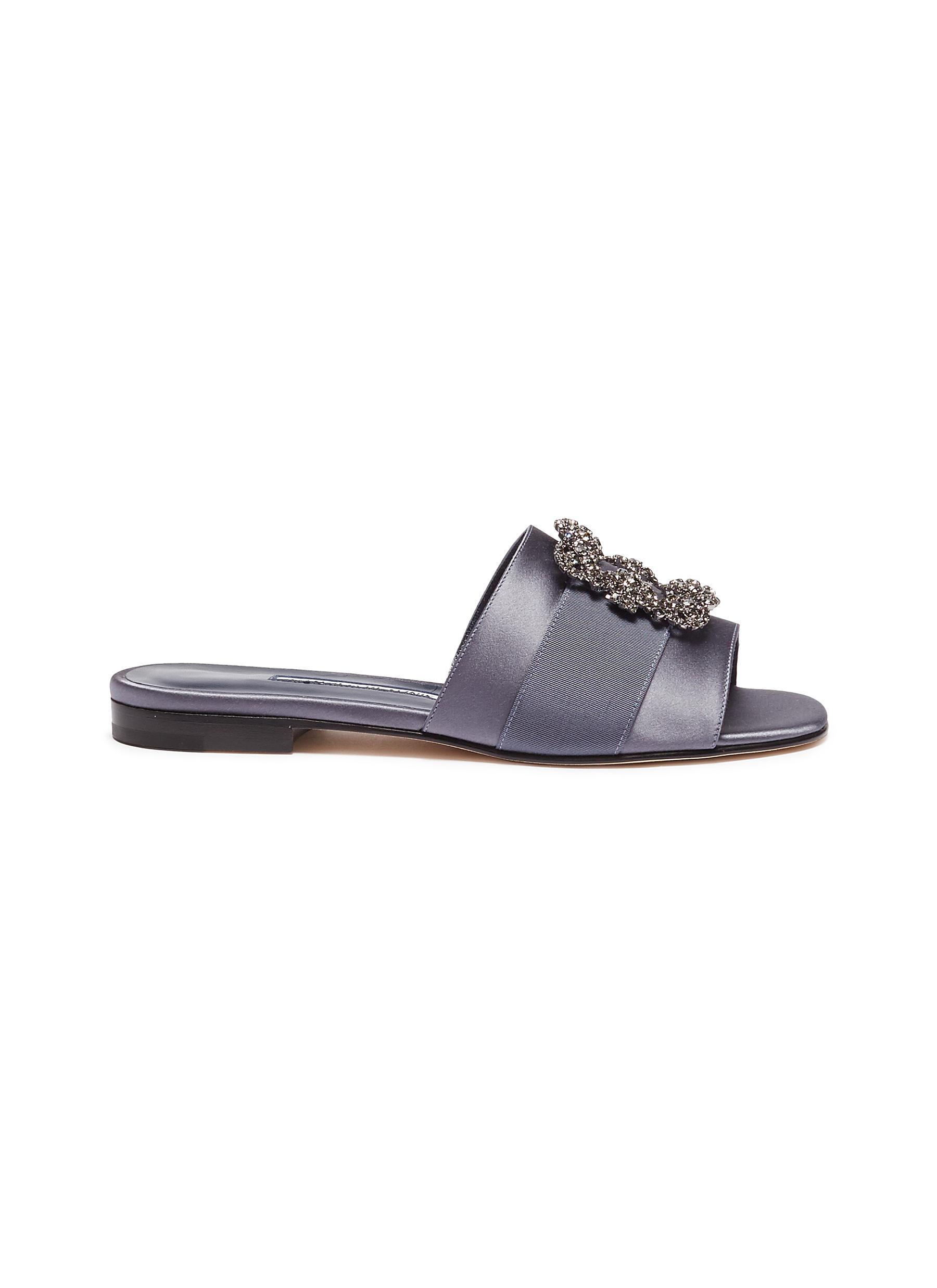 86a2aaeec899 Manolo Blahnik.  Martamod  Swarovski crystal brooch satin slide sandals