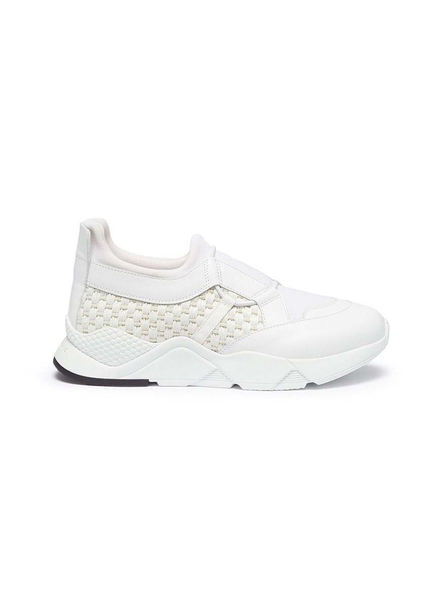 Salvy woven straw panel leather sneakers by Robert Clergerie