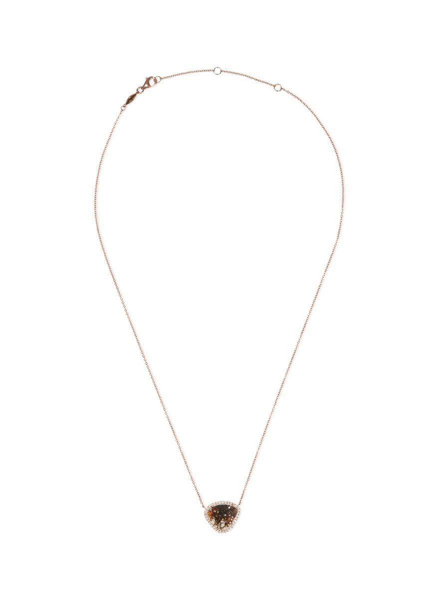 Diamond slice 18k rose gold pendant necklace
