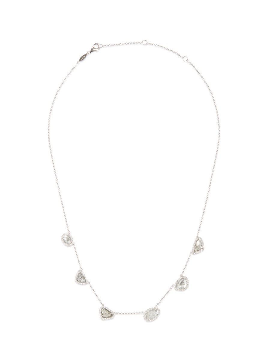 Diamond slice 18k white gold multi pendant necklace