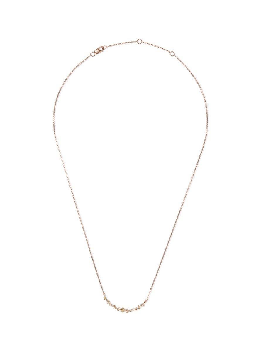 'Birdy' diamond 18k rose gold necklace