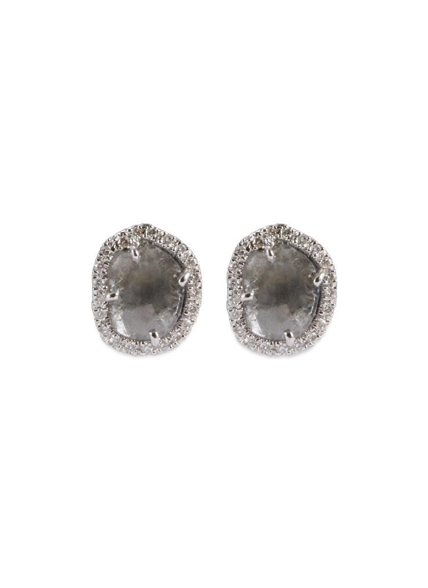 Diamond slice 18k white gold medium stud earrings