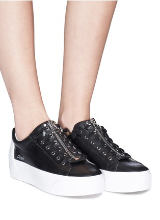 Figure View - Click To Enlarge - Ash - 'Buzz' zip leather platform sneakers