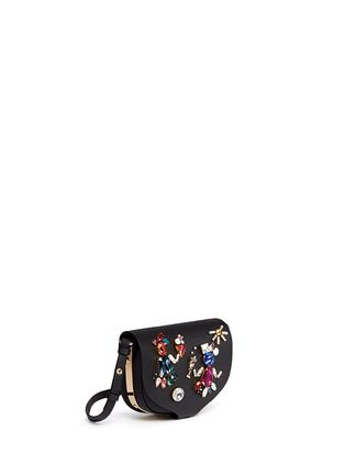 Front View - Click To Enlarge - Sophie Hulme - 'Barnsbury' mini crystal saddle leather crossbody bag