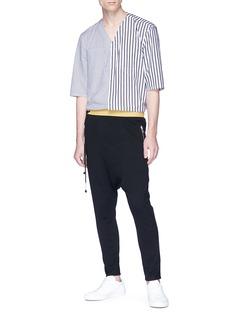 SIKI IM / DEN IM Contrast outseam mix stripe patchwork shirt