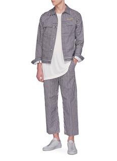 SIKI IM / DEN IM Slogan embroidered stripe twill pants