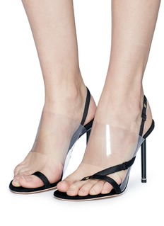 Alexander Wang  'Kaia' PVC vamp mismatched satin slingback sandals