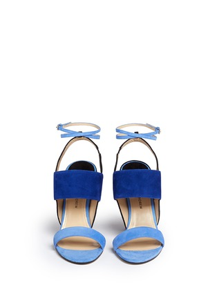 Front View - Click To Enlarge - PAUL ANDREW - 'Xiamen' colourblock suede slingback sandals
