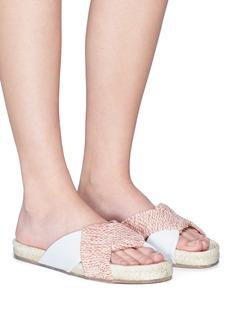Paloma Barceló 'Tamarisco' tweed leather panel slide sandals