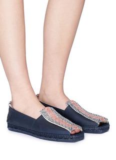 Paloma Barceló 'Canabina' check panel leather peep toe espadrilles