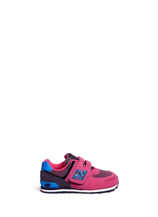 Main View - Click To Enlarge - New Balance - '574' suede mesh toddler sneakers
