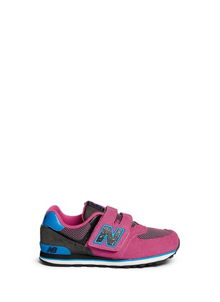 Main View - Click To Enlarge - New Balance - '574 Outside In' strap suede kids sneakers