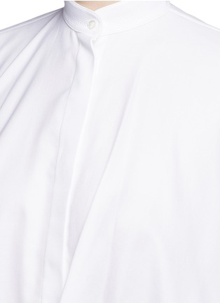 Detail View - Click To Enlarge - Valentino - Ruffle cape sleeve cotton shirt