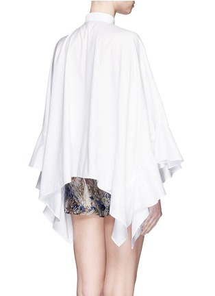 Back View - Click To Enlarge - Valentino - Ruffle cape sleeve cotton shirt