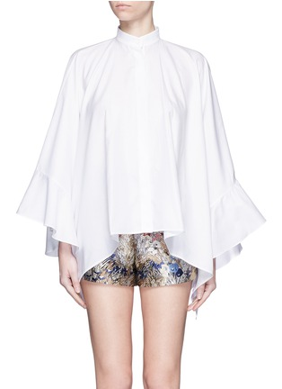 Main View - Click To Enlarge - Valentino - Ruffle cape sleeve cotton shirt