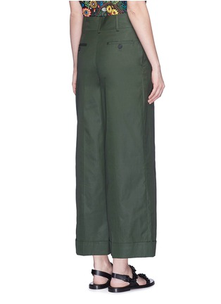 Back View - Click To Enlarge - VALENTINO - Cotton poplin wide leg pants
