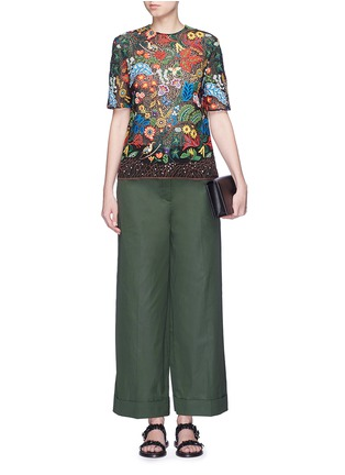 Figure View - Click To Enlarge - Valentino - Cotton poplin wide leg pants