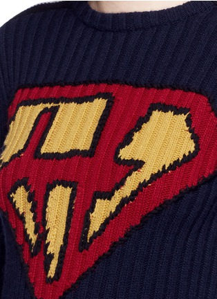 Detail View - Click To Enlarge - Valentino - 'Super H' superman icon wool sweater