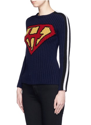 Front View - Click To Enlarge - Valentino - 'Super H' superman icon wool sweater