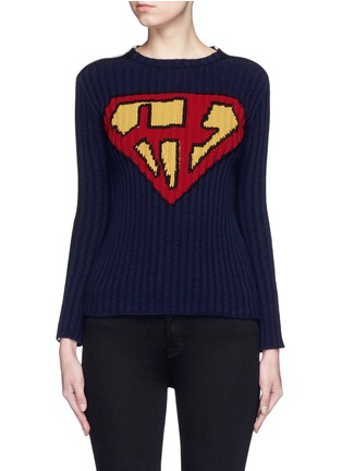 Main View - Click To Enlarge - Valentino - 'Super H' superman icon wool sweater