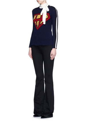 Figure View - Click To Enlarge - Valentino - 'Super H' superman icon wool sweater