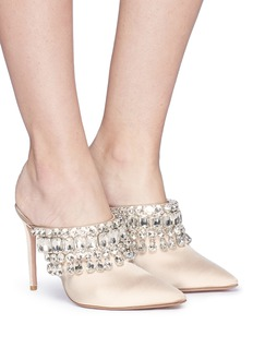 Aquazzura 'Gem Palace' glass crystal satin mules