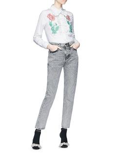 Gucci Floral embroidered stripe poplin shirt