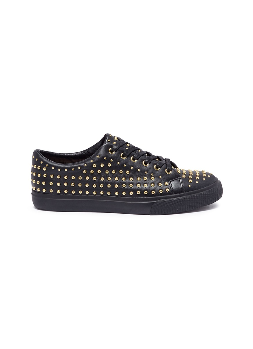 Jeff stud pavé leather sneakers by Pedder Red