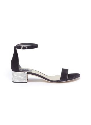 Main View - Click To Enlarge - René Caovilla - Strass pavé heel ankle strap suede sandals