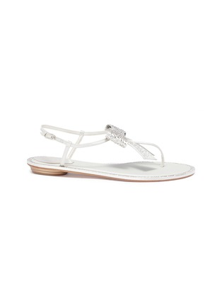 Main View - Click To Enlarge - René Caovilla - Strass bow satin sandals