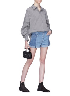 J Brand 'Johnny' roll cuff colourblock denim shorts