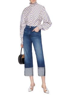 J Brand 'Joan' stitching reverse cuff denim culottes