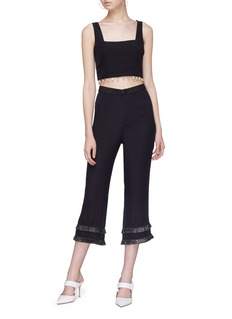 STAUD 'Lili' raffia trim pants