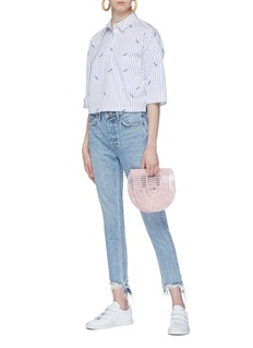 Kule 'The Keaton' slogan embroidered stripe cropped shirt