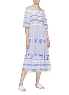 Lemlem 'Tiki' stripe tiered off-shoulder dress