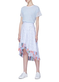 Lemlem 'Besu' diamond fil coupé stripe ruffle high-low skirt