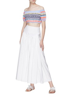 Lemlem 'Sofia' geometric stripe cropped off-shoulder top