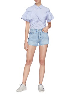 GRLFRND 'Cindy' stripe outseam frayed cuff denim shorts