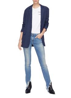 R13 'Kate Skinny' shredded angled cuff jeans