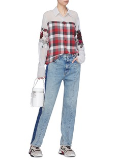 DRY CLEAN ONLY 'Shaylee' floral embellished mesh panel check plaid shirt