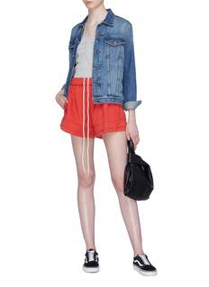 bassike Layered cuff twill drawstring shorts