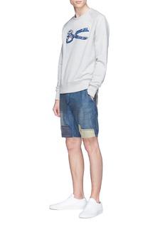 DENHAM 'Tokyo' patchwork drop crotch shorts