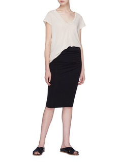 James Perse Shirred jersey skirt