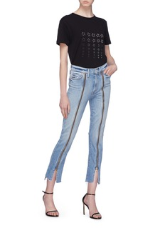 MOTHER 'The Rascal' zip front stepped cuff cropped jeans