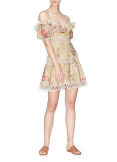Zimmermann 'Melody' ruffle floral print off-shoulder dress