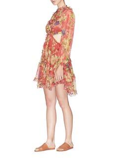 Zimmermann 'Melody' open back ruffle floral print silk dress
