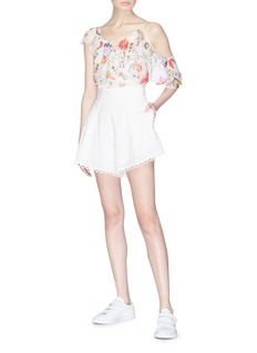 Zimmermann 'Melody' loop trim dot embroidered shorts